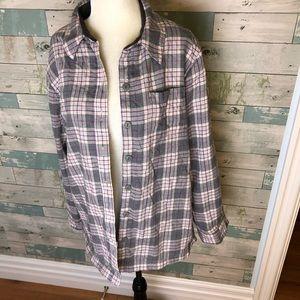 LL Bean fleece lined plaid shirt size MP